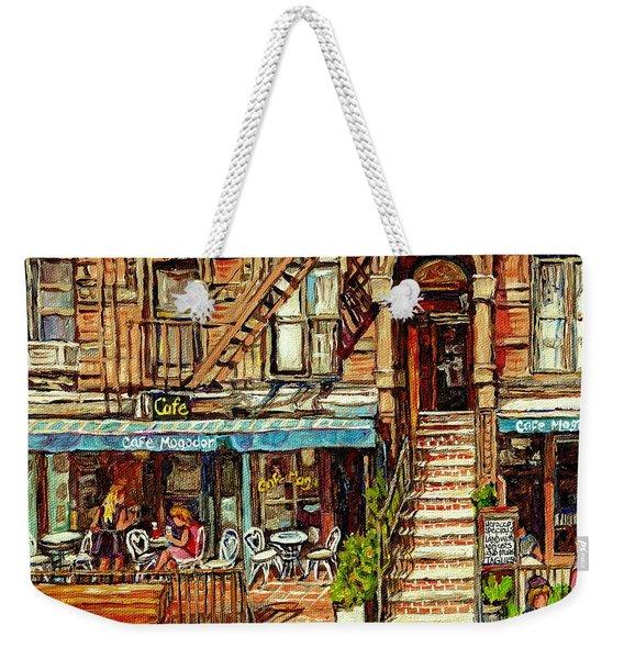 Cafe Mogador Moroccan Mediterranean Cuisine New York Paintings East Village Storefronts Street Scene Weekender Tote Bag