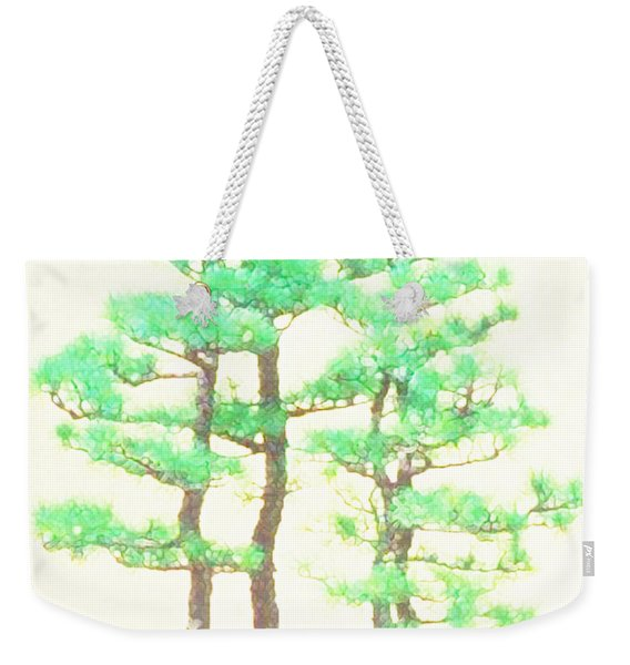 Weekender Tote Bag featuring the painting Caitlin Elm Bonsai Tree by Marian Cates