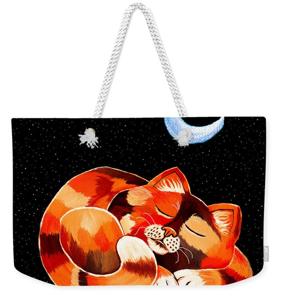 Calico In The Moonlight Weekender Tote Bag