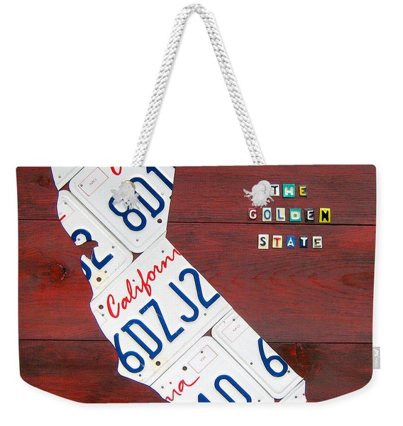 California License Plate Map Weekender Tote Bag