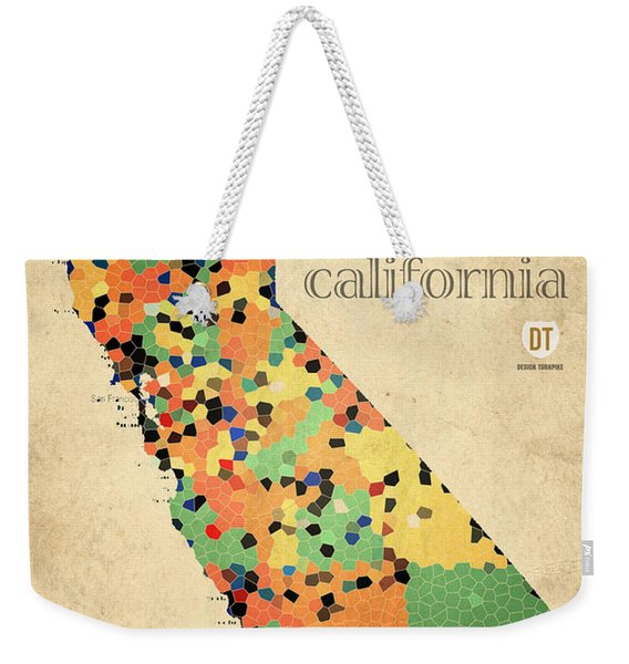 California Map Crystalized Counties On Worn Canvas By Design Turnpike Weekender Tote Bag