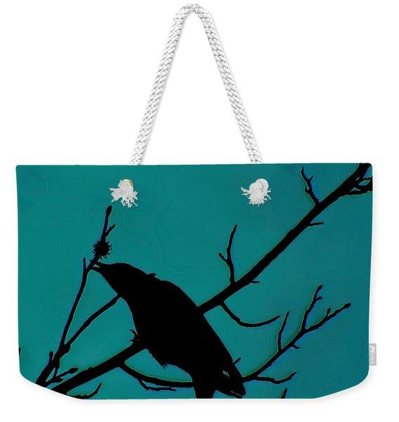 Call Of The Crow On Aqua 2 Weekender Tote Bag