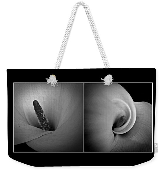 Weekender Tote Bag featuring the photograph Calla Lily Diptych by Patricia Strand
