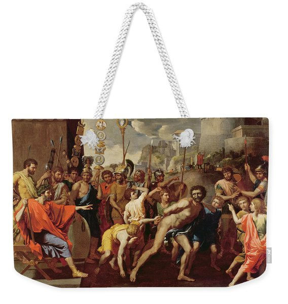 Camillus And The Schoolmaster Of Falerii, C. 1635-40 Oil On Canvas Weekender Tote Bag