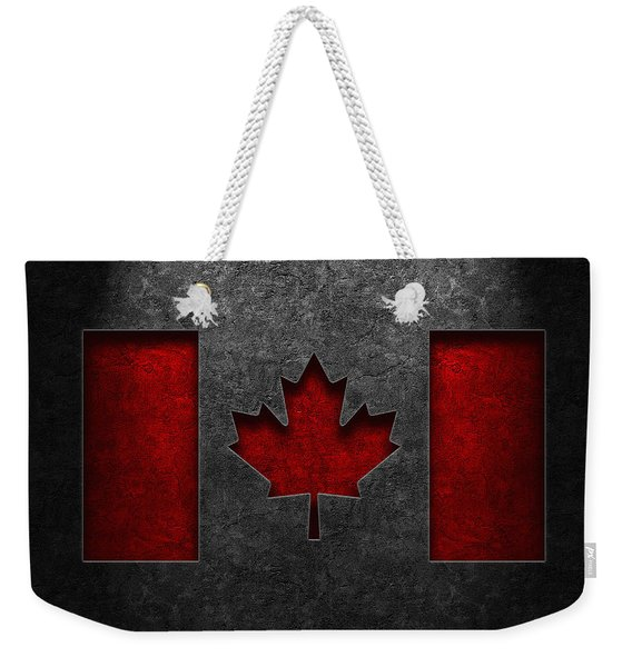 Canadian Flag Stone Texture Weekender Tote Bag