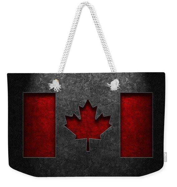 Canadian Flag Stone Texture Weekender Tote Bag