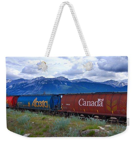 Canadian Freight Train In Jasper #2 Weekender Tote Bag