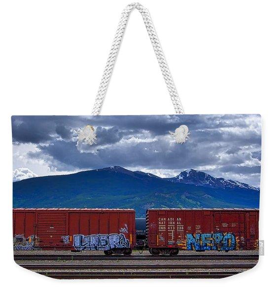 Canadian Freight Train In Jasper Weekender Tote Bag