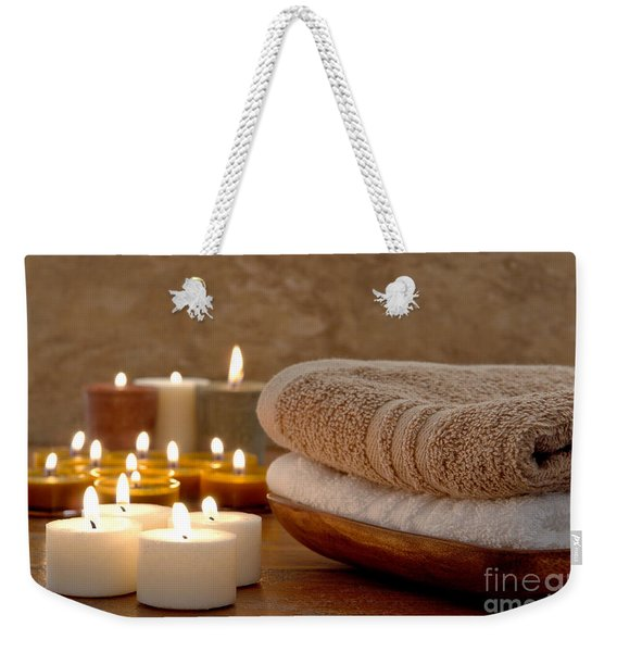 Candles And Towels In A Spa Weekender Tote Bag