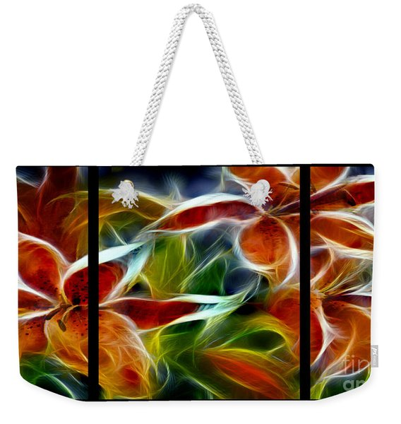 Candy Lily Fractal Triptych Weekender Tote Bag