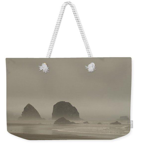 Cannon Beach In A Fog Oregon Weekender Tote Bag