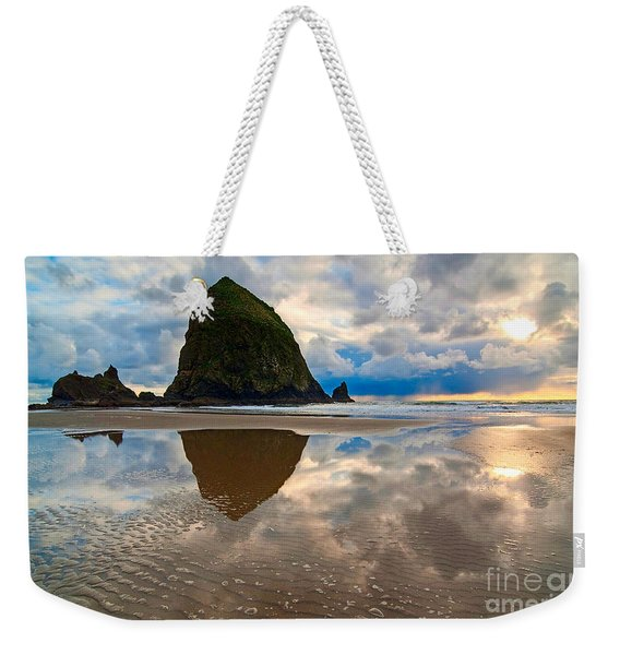Cannon Beach With Storm Clouds In Oregon Coast Weekender Tote Bag