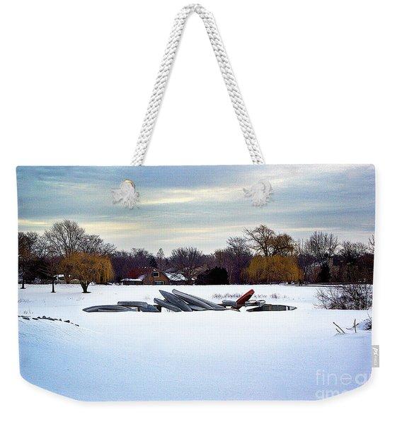 Canoes In The Snow Weekender Tote Bag