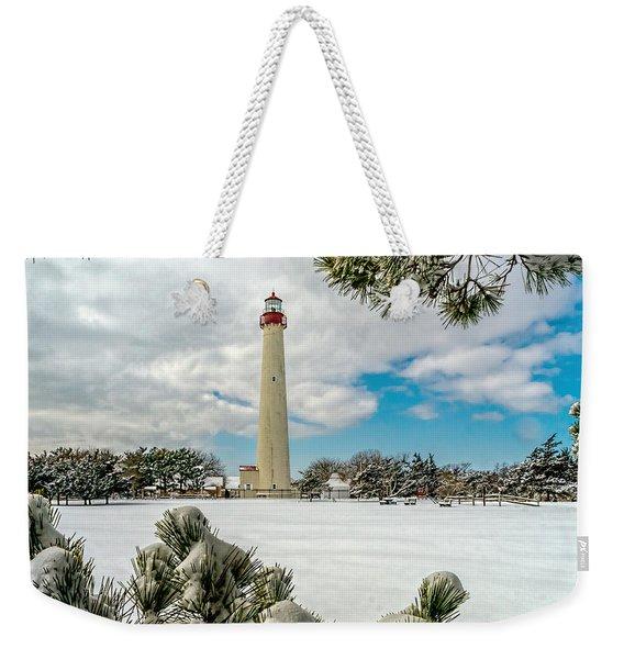Cape May Light Thru Snowy Trees Weekender Tote Bag