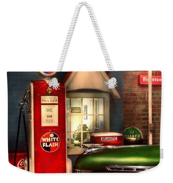 Car - Station - White Flash Gasoline Weekender Tote Bag