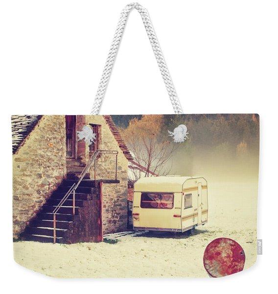 Caravan In The Snow With House And Wood Weekender Tote Bag