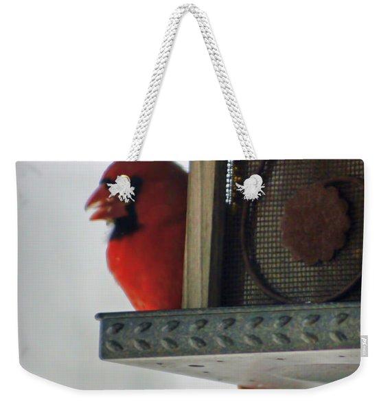 Cardinal At The Feeder Weekender Tote Bag