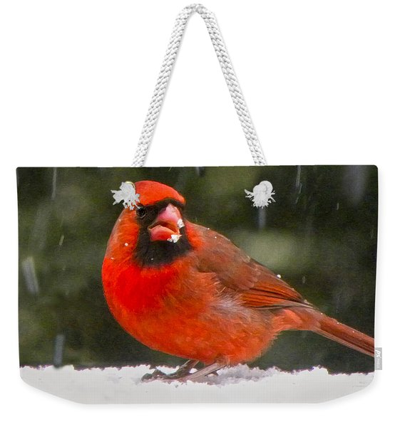 Cardinal In The Snowstorm Weekender Tote Bag