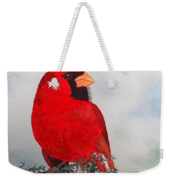 Cardinal Merry Christmas Weekender Tote Bag