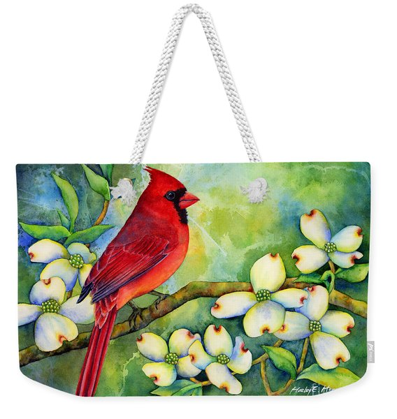 Cardinal On Dogwood Weekender Tote Bag