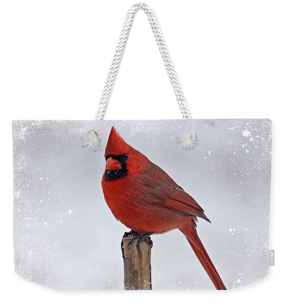 Cardinal Perching Weekender Tote Bag