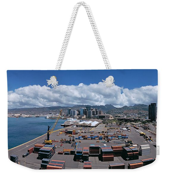 Cargo Containers At A Harbor, Honolulu Weekender Tote Bag