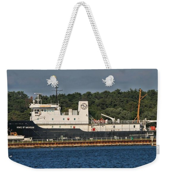 Cargo Ship On Lake Michigan Weekender Tote Bag