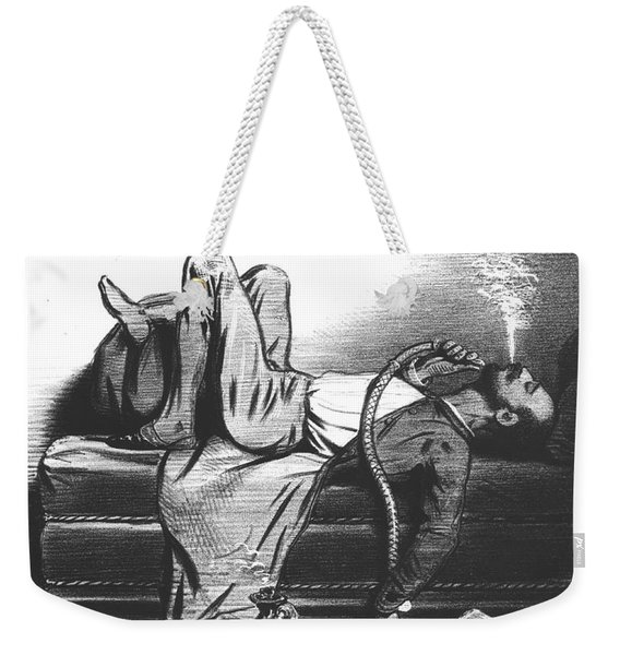 Caricature Of The Romantic Writer Searching His Inspiration In The Hashish Weekender Tote Bag