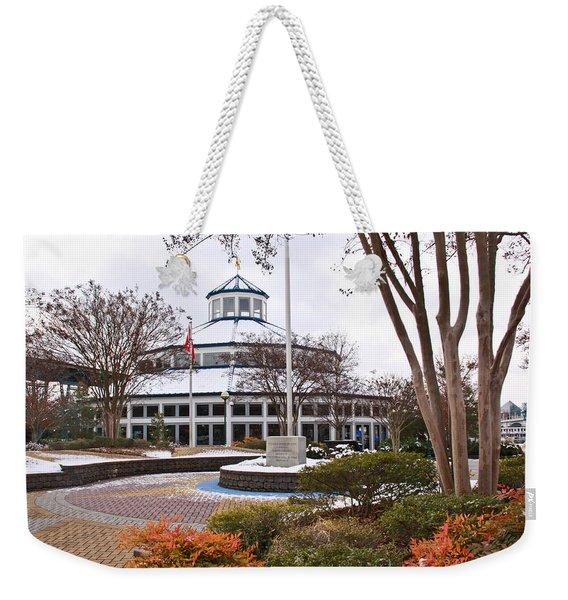 Carousel Building In Snow Weekender Tote Bag