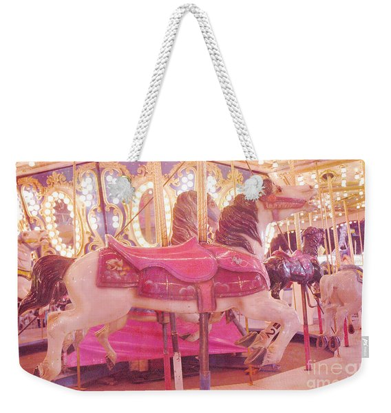 Carousel Merry Go Round Horses - Dreamy Baby Pink Carousel Horses Carnival Rides At Night  Weekender Tote Bag