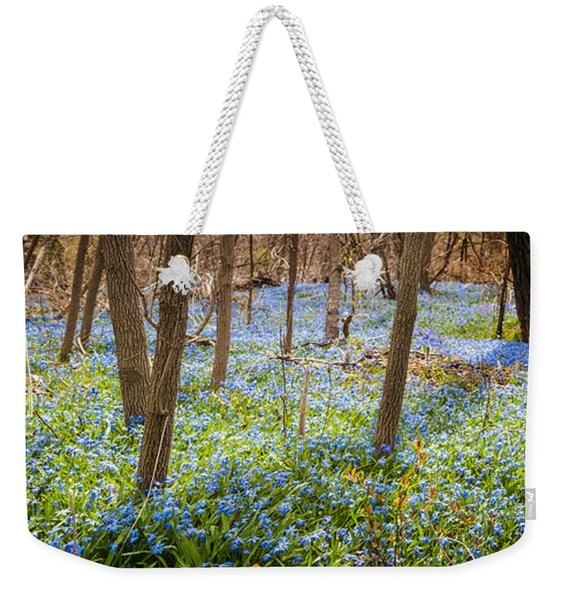 Carpet Of Blue Flowers In Spring Forest Weekender Tote Bag