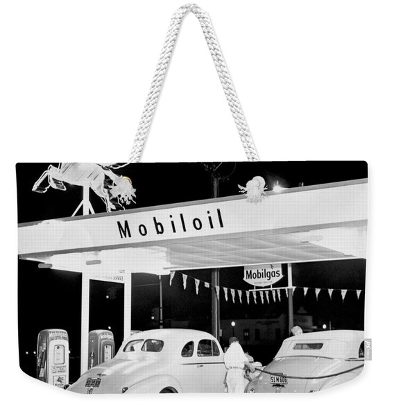 Cars At A Mobil Gas Station Weekender Tote Bag