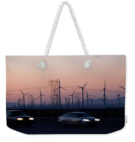 Cars Moving On Road With Wind Turbines Weekender Tote Bag