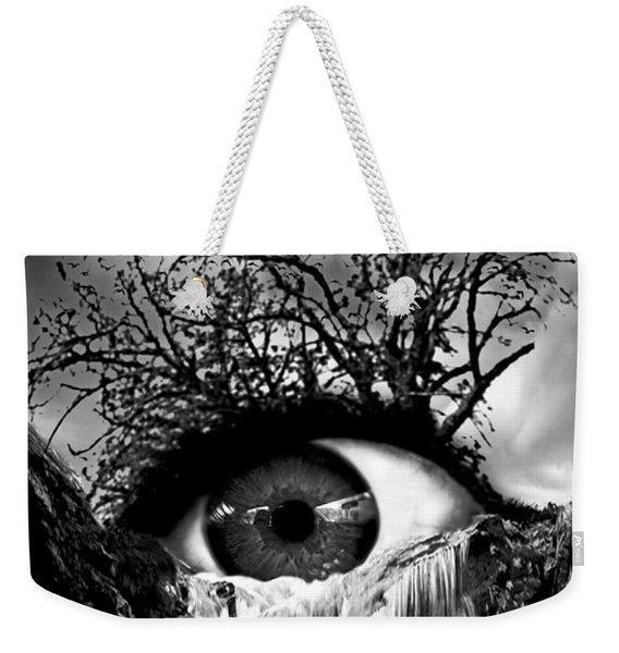 Cascade Crying Eye Grayscale Weekender Tote Bag