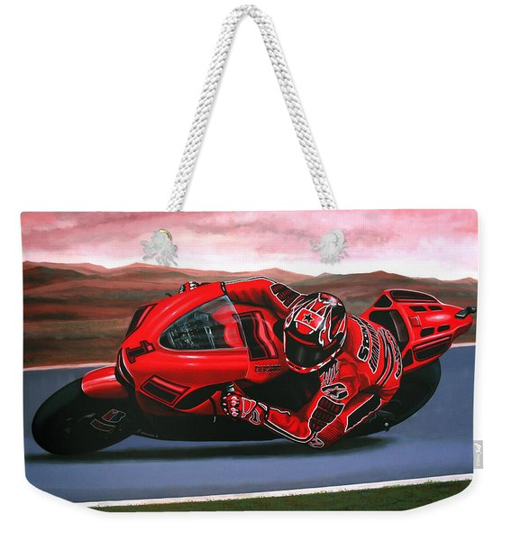 Casey Stoner On Ducati Weekender Tote Bag