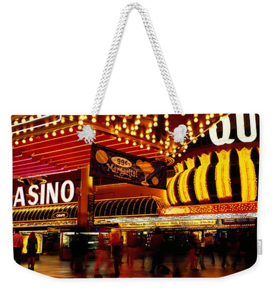 Casino Lit Up At Night, Four Queens Weekender Tote Bag