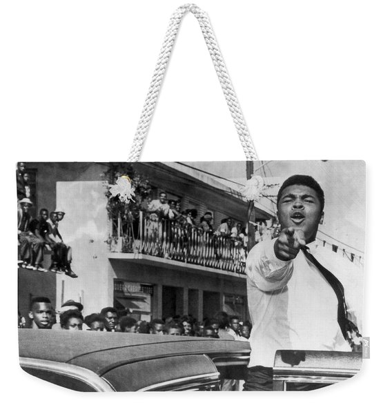Cassius Clay In Football Parade Weekender Tote Bag