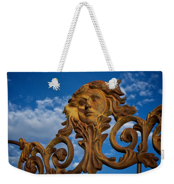 Weekender Tote Bag featuring the photograph Cast Iron Maiden Of The Sky by Mary Lee Dereske