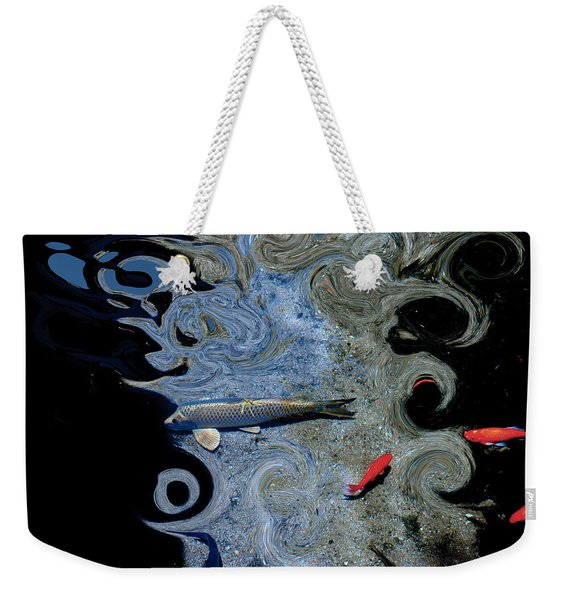 Cat And Koi Blue Weekender Tote Bag