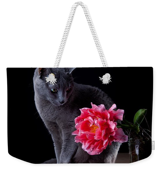 Cat And Tulip Weekender Tote Bag