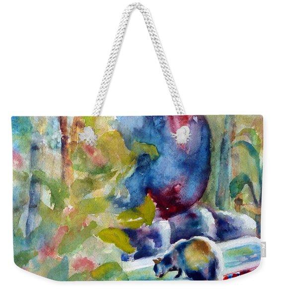 Cat Drinking Fountain Weekender Tote Bag