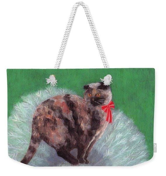 Cat On Christmas Tree Weekender Tote Bag