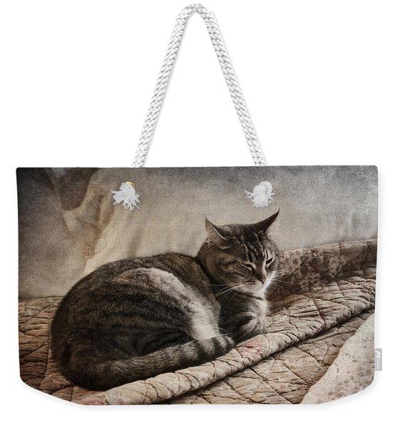 Cat On The Bed Weekender Tote Bag