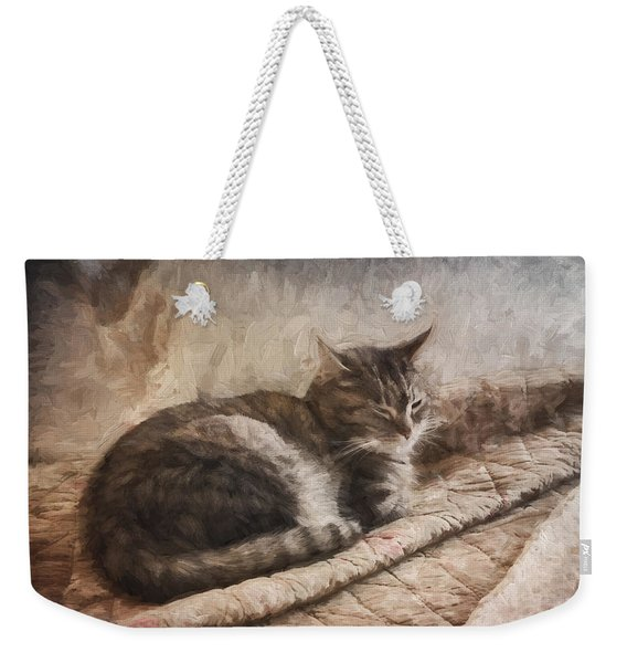 Cat On The Bed Painterly Weekender Tote Bag