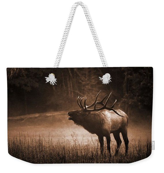 Cataloochee Bull Elk In Sepia Weekender Tote Bag