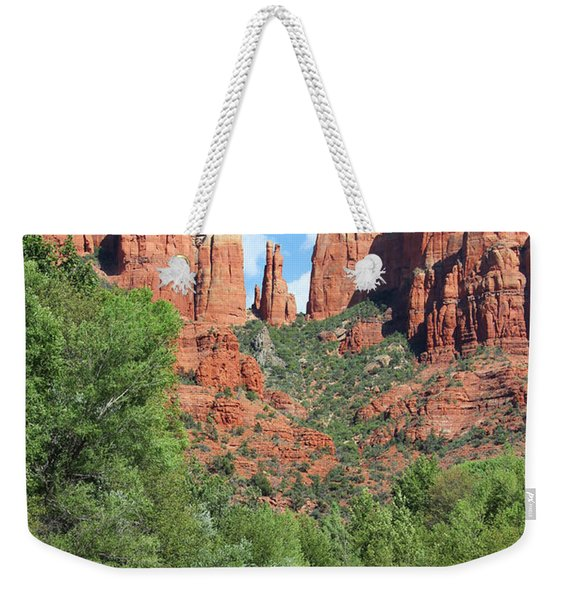 Weekender Tote Bag featuring the photograph Cathedral Rock Sedona by Jemmy Archer