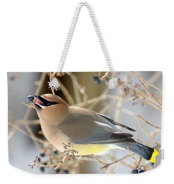 Weekender Tote Bag featuring the photograph Cedar Waxwing Feeding by William Selander