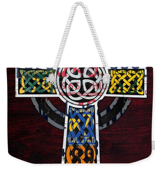 Celtic Cross License Plate Art Recycled Mosaic On Wood Board Weekender Tote Bag