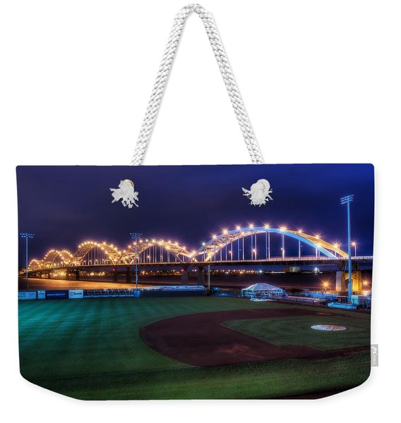 Centennial Bridge And Modern Woodmen Park Weekender Tote Bag