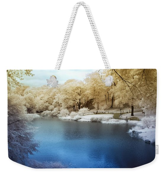Central Park Lake Infrared Weekender Tote Bag